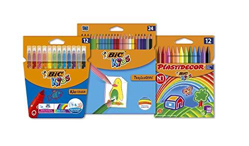 BIC Kids Kit - 12 Rotuladores BIC Kids Kid Couleur, 24 Ceras BIC Kids Plastidecor, 24 Lápices de Colores BIC Kids Tropicolors - Colores Surtidos