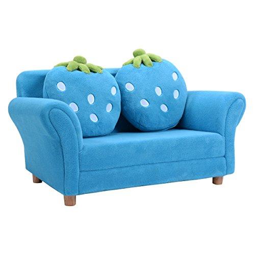 COSTWAY Kindersessel Sessel Sofa Kindercouch Babysessel Kindersofa Kindermöbel 90x54,8x48cm Korallen-Samt mit 2 Kissen (Blau)
