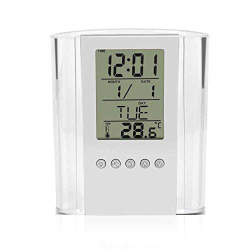 Fdit multifunctionele digitale bureau-stifthouder, lcd-wekker, thermometer, kalender, display voor thuis, kantoor, school