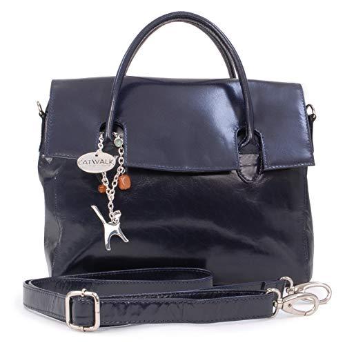 Catwalk Collection Handbags - Leder - Organizer/Handtasche mit Schultergurt - iPad/Tablet - Vintage Leder - Handtasche mit Schultergurt -ELLA - Marine Blau