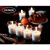 SUPREME LIGHTS ·2017· Unscented Clear Glass Soy Wax Filled Votive Candles-12 Hour Long Lasting Burn Time, for Weddings, Parties and Event Decoration Centerpieces