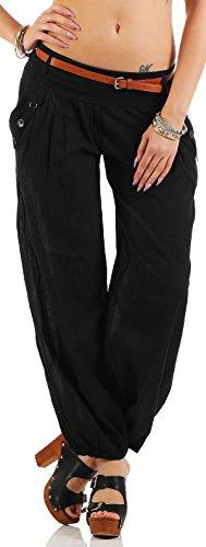 Malito Damen Chino Hose in Uni Farben | Freizeithose mit Gürtel | Sommerhose für den Strand | Haremshose - Pumphose 6017 (schwarz, M)