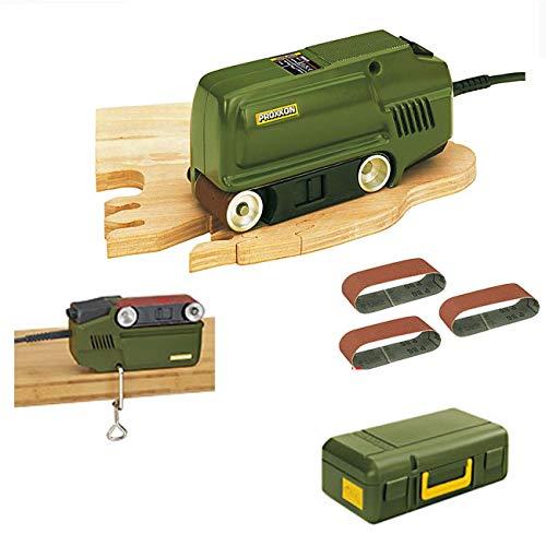 PROXXON Block Bandschleifer BBS/S Set - inklusive 25 Schleifbänder (verschiedene Körnungen), Schraubzwinge für Stationäreinsatz und Koffer
