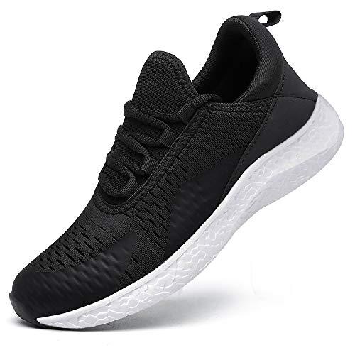 KOUDYEN Zapatillas Deporte Hombres Mujer Gimnasio Running Zapatos para Correr Transpirables Sneakers (D Negro, Numeric_43)
