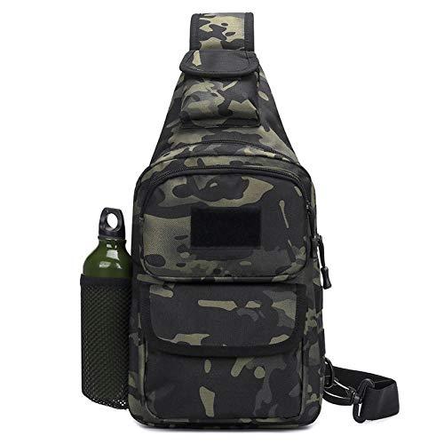 BAIGIO Taktisch Umhängetasche Militär Brusttasche Sling Rucksack Crossbody Bag mit USB-Ladeanschluss für Trekking Camping Wandern Reisen (Camo schwarz)