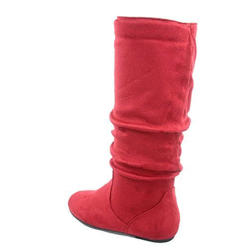 Top Moda Data-1 Women's Shoes Cute & Comfort Round Toe Flat Heel Slouchy Mid Calf Boot (8.5, Red)