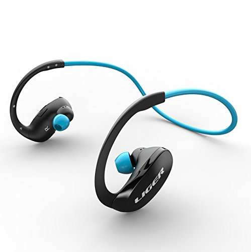 Bluetooth Headphones, Liger XS900 Wireless Bluetooth 4.0 Headphones with Noise Cancelling and Mic - Great for Sports, Running, Gym, Exercise -Wireless Bluetooth Earbuds Headset Earphones - Blue