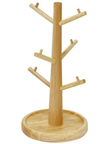丸和貿易Rubber Wood おしゃれ 木製 小物 収納 ツリー ハンガー ( コップスタンド、キーフック 、アクセサリー収納 に) ナチュラル 1003811-01サイズ:約φ16 H31.5