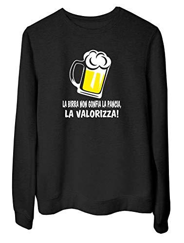 T-Shirtshock Felpa Girocollo Donna Nera T0990 LA Birra Non GONFIA LA Pancia LA VALORIZZA Bevande Sballo