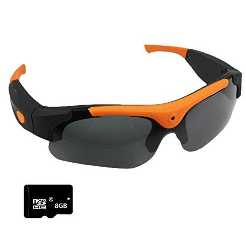 Vídeo Cámara Gafas de sol+Tarjeta SD de 8GB, Zimingu HD 1080P 5MP Grabación Gafas Videocámara gafas DVR Videocámara de Para Conducir Deportes al Aire Libre(naranja)