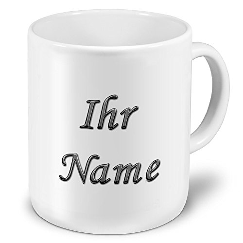 printplanet XXL Riesen-Tasse mit Namen personalisiert - Motiv Chrom-Schriftzug - individuell gestalten - Namenstasse, Kaffeebecher, Becher, Mug