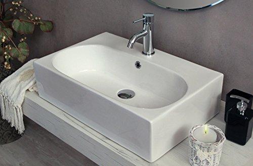 Yellowshop - Lavabo Da Appoggio Cm 60 x 40 Bacinella Lavandino Lavello Rettangolare In Ceramica Bianco Sanitari Bagno Design Moderno Modello Soul