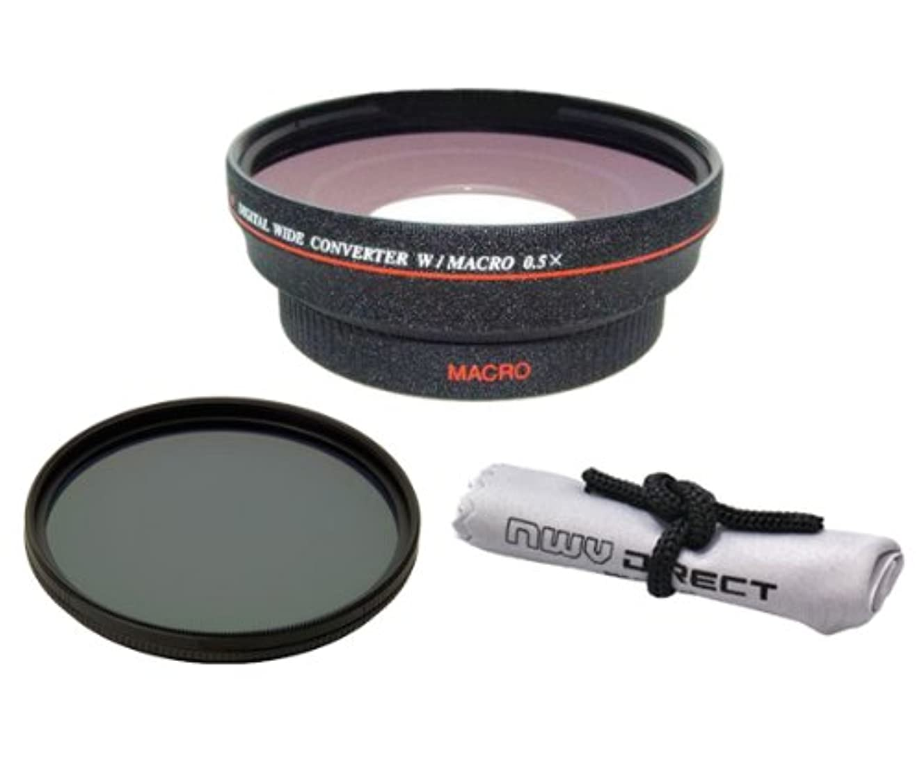 58mm 0.5x Super Wide Angle Lens With Macro (Wider Alternative To Panasonic DMW-LWA52) + Stepping Ring (52-58mm) + 82mm Circular Polarizing Filter + Nwv Direct Micro Fiber Cleaning Cloth