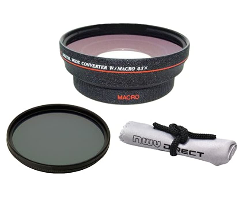Sony NEX-VG10 (High Definition) 0.5x Wide Angle Lens With Macro + 82mm Circular Polarizing Filter + Nwv Direct Micro Fiber Cleaning Cloth