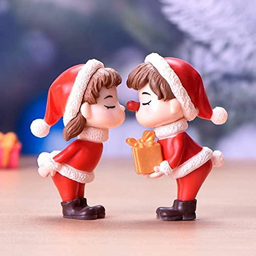 Meijin 2 piezas mini figura de Navidad para pareja de muñecas DIY Jardín Bonsai Decoración Ornamento Niño Juguete en miniatura Personas Estatua Resina Artesanía (Color: A)