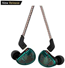 in Ear Headphones, KZ AS10 Five Balanced Aramature Extra Bass Universal-Fit Earphones Compatible with iPhone, LG, iPod, iPad, MP3, MP4 (Cyan Without Mic)