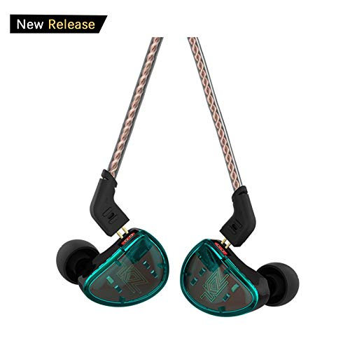 in Ear Headphones, KZ AS10 Five Balanced Aramature Extra Bass Universal-Fit Earphones Compatible(Cyan Without Mic)