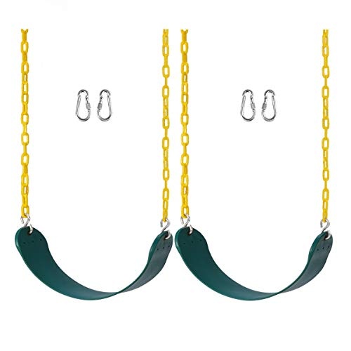Lovely Snail Swing Seat 2 Pack Heavy Duty Swing Set Swings with Carabiners, Playground Playset Accessories Replacement Fully Assembled for Outdoor Backyard