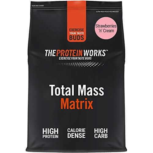 THE PROTEIN WORKS Total Mass Matrix | Mass Gainer | Calorie Dense Weight Gainer | Protein Powder | Strawberries 'n' Cream | 2 Kg