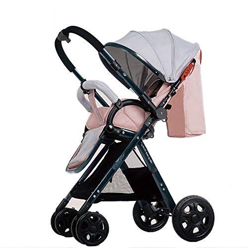MMM @ La poussette de bébé de paysage élevé manipule les poussins réversibles de bébé peut s'asseoir et mentir le chariot pliable portatif de l'enfant d'Ulttralight chariot ( Color : Pink (1) )