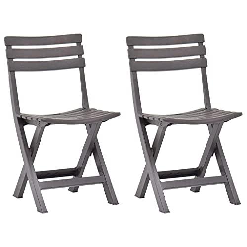 Sedia da giardino pieghevole, sedia da giardino Sedia da pranzo da giardino Sedile da esterno Sedie da giardino pieghevoli 2 pezzi Plastica Moka