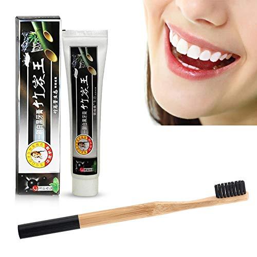 wendaby Set per dentifricio e spazzolino da Denti a Carbone Attivo in Carbone di bambù per la Cura Orale