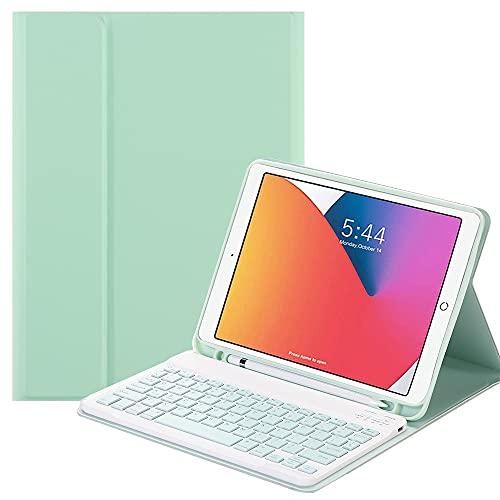 SsHhUu Funda con Teclado para iPad Mini 6 2021 con Ranura de L¨¢PIZ, Estuche Folio con Teclado Bluetooth Inal¨¢mbrico Desmontable para 8.3 Pulgada iPad Mini 6.a generaci¨®n, Verde