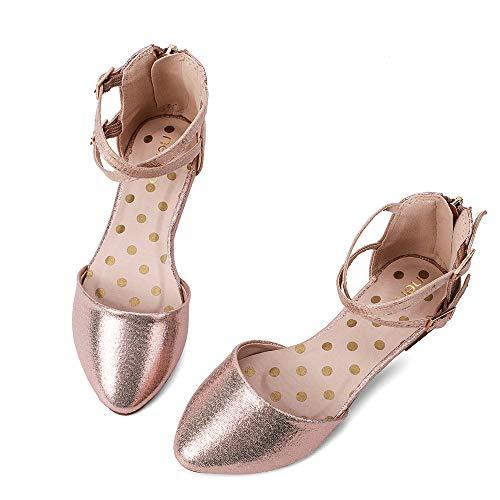 nerteo Girl's Pretty Glitter Ballet Flats Ankle Strap Dress Shoes Sandals (Toddler/Little Kid/Big Kid) Rose Gold 6 M US Toddler