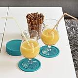 Coastee Silikon-Untersetzer - 8 Stück, türkis, Glasuntersetzer-Set für Bar, Wohnzimmer, Küche - 4
