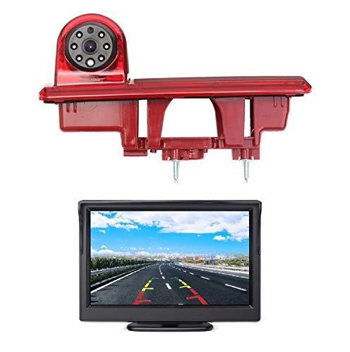 HD 720p 3. Bremsleuchte, Rückfahrkamera-Set, 12,7 cm (5 Zoll) LCD-Monitor mit IP68 wasserdicht, Nachtsicht, Rückfahrkamera für Renault Trafic X82 MK3 Opel Vivaro Nissan Primastar Talento 14–19
