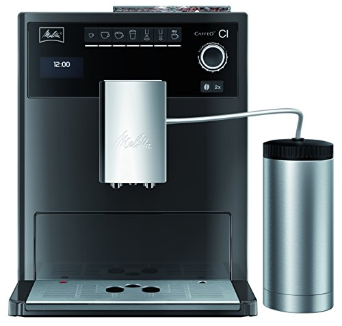 Melitta Caffeo CI Special E970-205, Kaffeevollautomat mit Isolier-Milchbehälter, Zweikammern-Bohnenbehälter, One Touch Funktion, Hochglanz, Edelstahloptik, Anthrazit