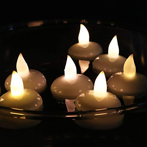 Rhytsing 12er Set LED schwimmende Kerzen, Kerzen für Draußen, Teelicht für Hochzeit, wasserdicht warmweißes flackerndes Licht