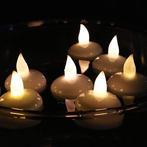 12er set LED schwimmende Kerzen, Kerzen für Draußen, Teelicht für Hochzeit, wasserdicht warmweißes flackerndes Licht