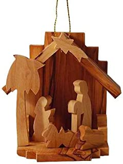 3D Wooden Holy Family Nativity Scene Ornament for Christmas Tree - This Holiday Décor is Hand Carved in Bethlehem (Item ID: HL0220-1)