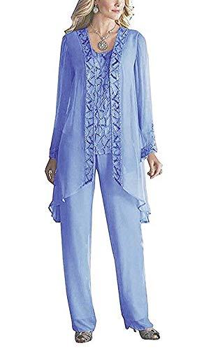 Women's Elegant Chiffon Mother of The Bride Pant Suits for Wedding Plus Size