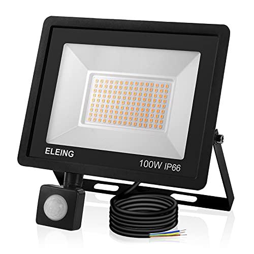 ELEING 100W Foco LED con Sensor Movimiento, IP66 Impermeable 8000LM 6500K Blanco Frío Super Brillante Proyector led Exterior utilizado en Garaje,Jardín, Entrada