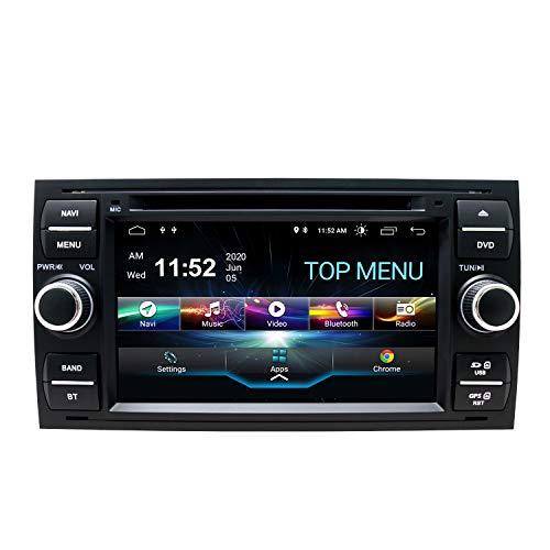 SWTNVIN Android 10.0 Coche Audio Cabezal estéreo Fits for Ford Focus Fusion Transit Fiesta Galaxy Reproductor de DVD Radio 7Pulgadas HD Pantalla táctil navegación GPS SWC 2GB+80GB(Negro06)