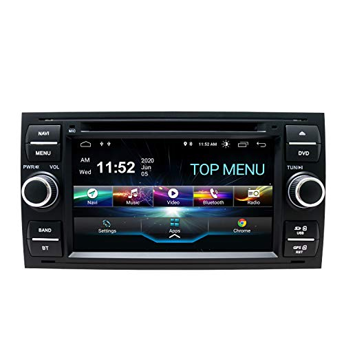 SWTNVIN Android 10.0 Autoradio-Headunit passend für Ford Focus Fusion Transit Fiesta Galaxy DVD-Player Radio 7 Zoll HD Touchscreen GPS Navigation mit Bluetooth WIFI SWC 3G DSP 2 GB + 80 GB (Schwarz06)