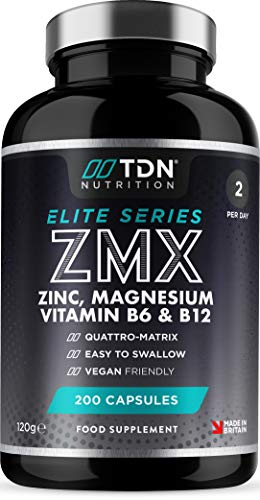ZMX - Zinc, Magnesium, Vitamin B6 & Vitamin B12-200 Capsules - Super Strength Advanced Supplement for Rest and Recovery - Support Normal Muscle & Protein Synthesis Reduce Fatigue - Vegan - UK Made