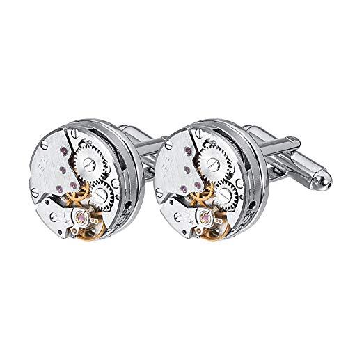 QX-Jewelry - Gemelos para hombre, diseño vintage con movimiento de reloj, con caja de regalo