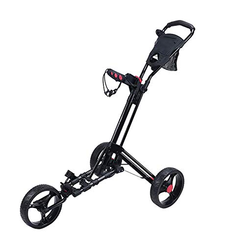 Check Out This ROCK1ON 3 Wheel Golf Push Cart Lightweight Foldable Golf Trolley Holder with Adjustab...
