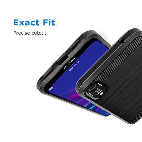AIFIVE Huawei Y6 2019 Hülle, Flexiblem TPU Silikon Hybrid Schutzhülle Kohlenstoff-Fasern Tasche Slim-Fit Handyhülle für Huawei Y6 2019 (Schwarz) - 5