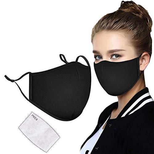 Beeria, Mascherina lavabile, anti-inquinamento, anti-nebbia, lavabile, cotone, protezione dal freddo, stereoscopica, nero, adatta per le donne