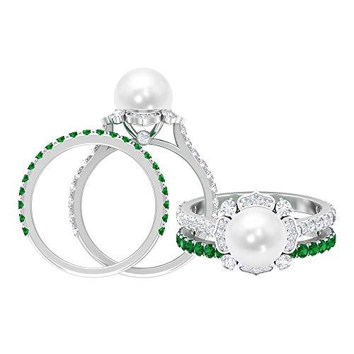 Rosec Jewels 14 quilates oro blanco redonda Round Brilliant White Perla de agua dulce Moissanite