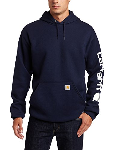 baratos y buenos Sudadera con capucha Carhartt K288 para hombre, logotipo de la marca en las mangas, peso medio … calidad