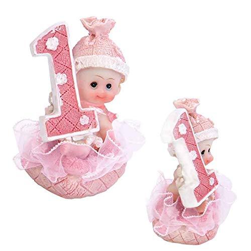Baby- Figur zum 1. Geburtstag, Tortenfigur Kuchen Topper, Tischdekoration, 7 cm (Mädchen - rosa)
