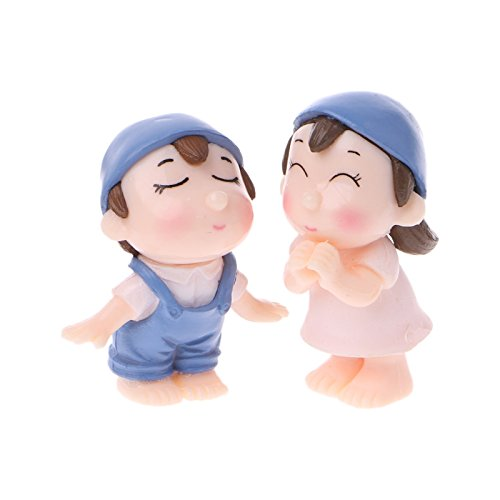 KOFUN Figuras de amante en miniatura Bonsai suculentas jardín sonriente pareja adornos 1 par azul