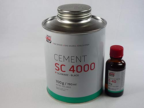 Rema Tip Top CEMENT SC 4000 schwarz 700g und Härter E-40 30g. Kleber für Gummi-Gummi, Gummi-Metall, Gummi-Gewebe und Gewebe-Gewebe 525260-30