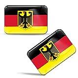 Biomar Labs® 2 x Aufkleber 3D Gel Silikon Stickers Bundesrepublik Deutschland Germany Deutsche Flagge Fahne Flag Auto Motorrad Fahrrad Fenster Tür PC Handy Tablet Laptop F 34