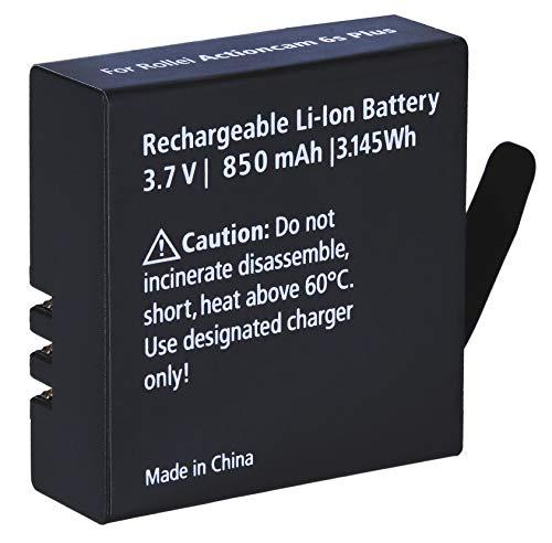 Rollei Akku Zusatz Actioncam 5s 6s Plus, Ersatzakku mit 850 mAh Kapazität Lithium Ionen, Schwarz